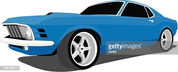 blue fastback mustang - rally car racing stock illustrations, clip art, cartoons, & icons