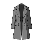Blue female restrained coat buttoned. Women's outerwear..Women clothing single icon in monochrome style vector symbol stock illustration web
