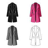 Blue female restrained coat buttoned. Women's outerwear..Women clothing single icon in cartoon style vector symbol stock web illustration.
