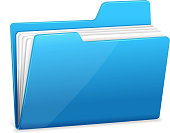 Blue file folder with documents