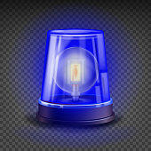 Blue Flasher Siren Vector. 3D Realistic Object. Light Effect. Rotation Beacon For Police Cars Ambulance, Fire Trucks. Emergency Flashing Siren. Isolated On Transparent Background Illustration