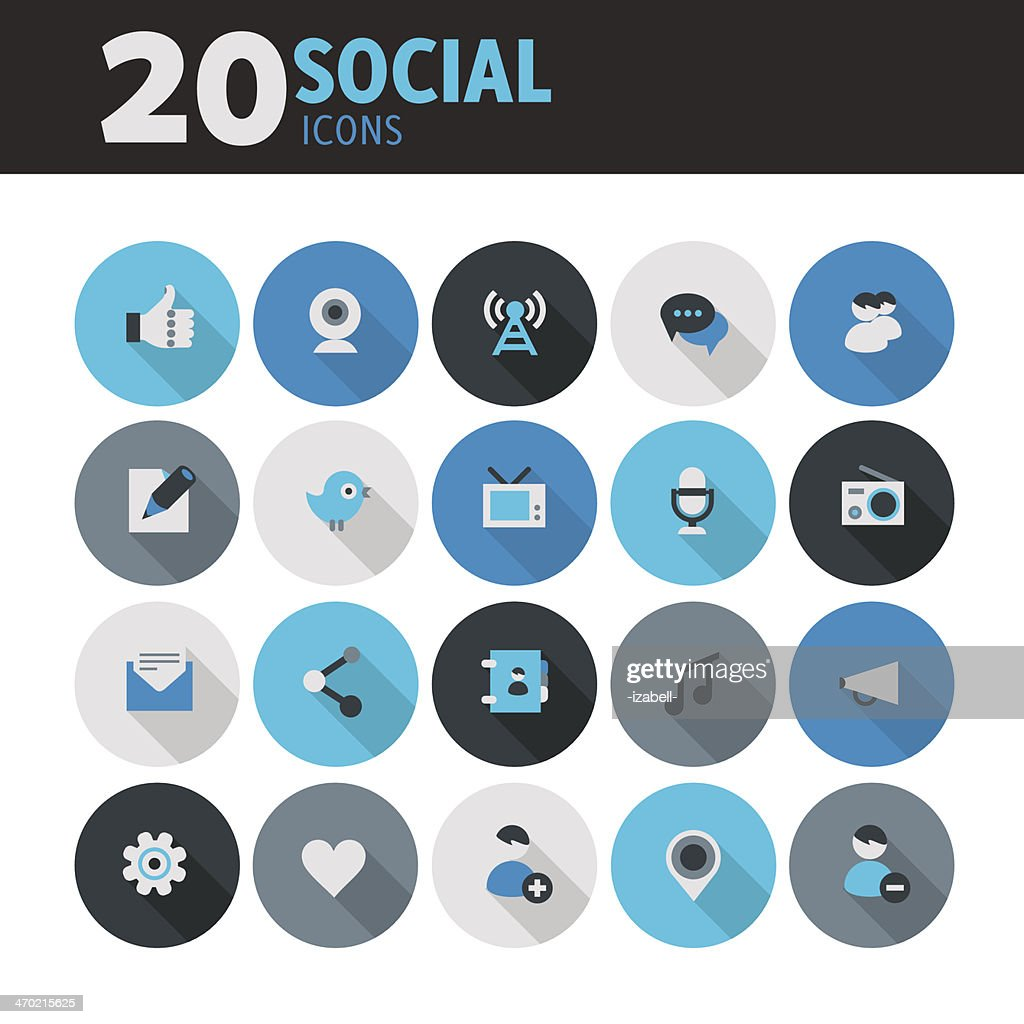 Blue flat round button social icons