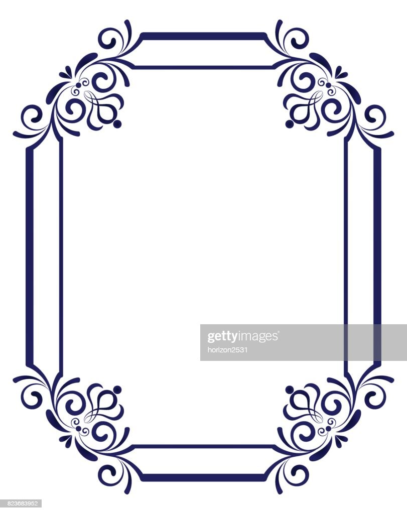 Blue Floral Frame Vector Art Getty Images