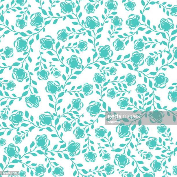 blue floral pattern background - single flower stock illustrations