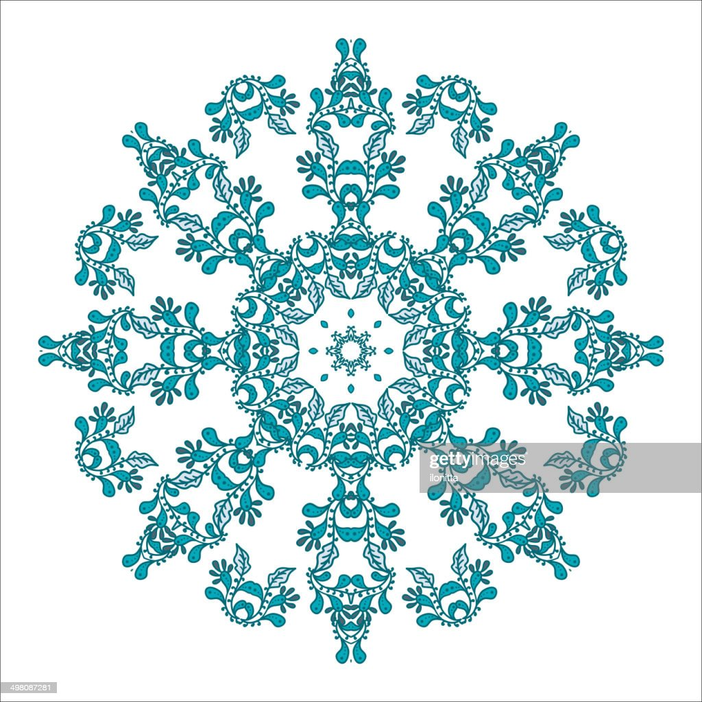 Blue floral pattern with round mandala ornament, isolated. Vecto