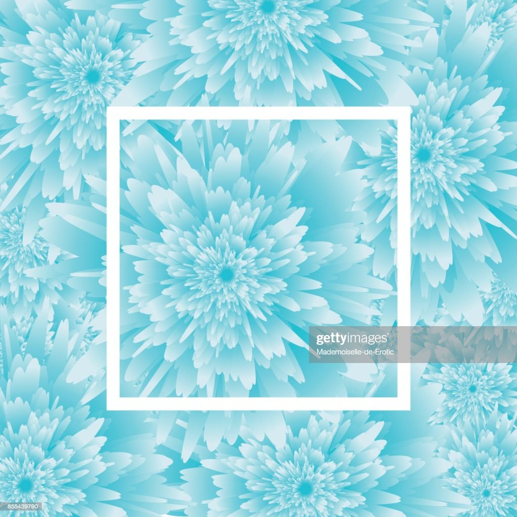 Blue Flower Background With Frame Vector Illustration Template For