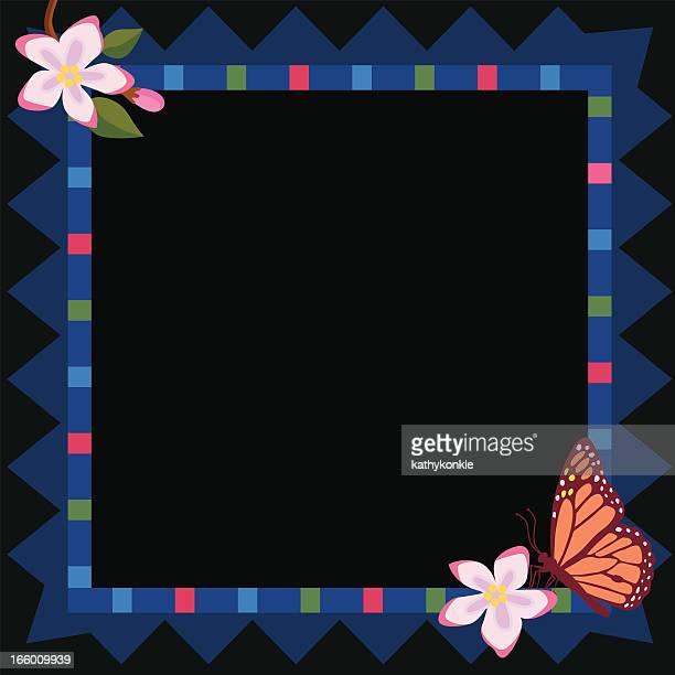 ilustrações, clipart, desenhos animados e ícones de azul quadro de flor, com espaço para texto - pilritreiro