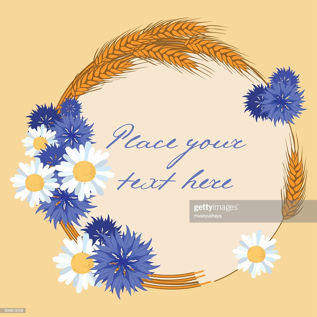 blue flowers and wreath of spike - vector illustration : Vector Art