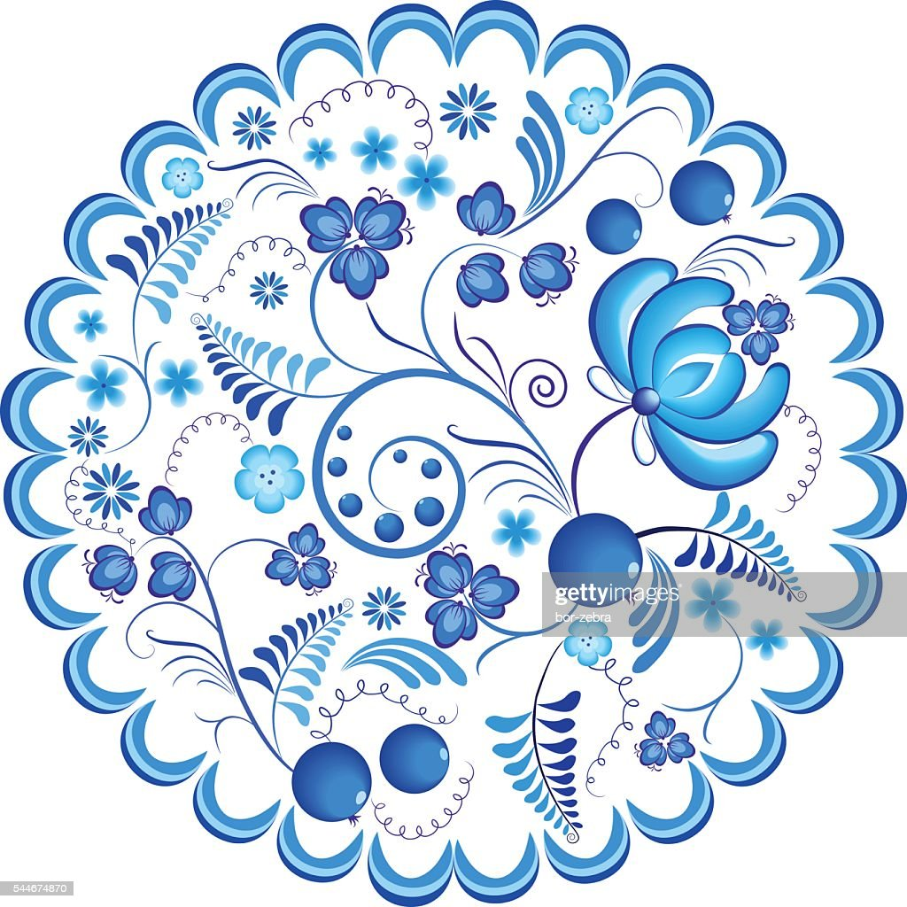 Blue flowers floral russian ornament gzhel frame. Vector illustration. Decorative