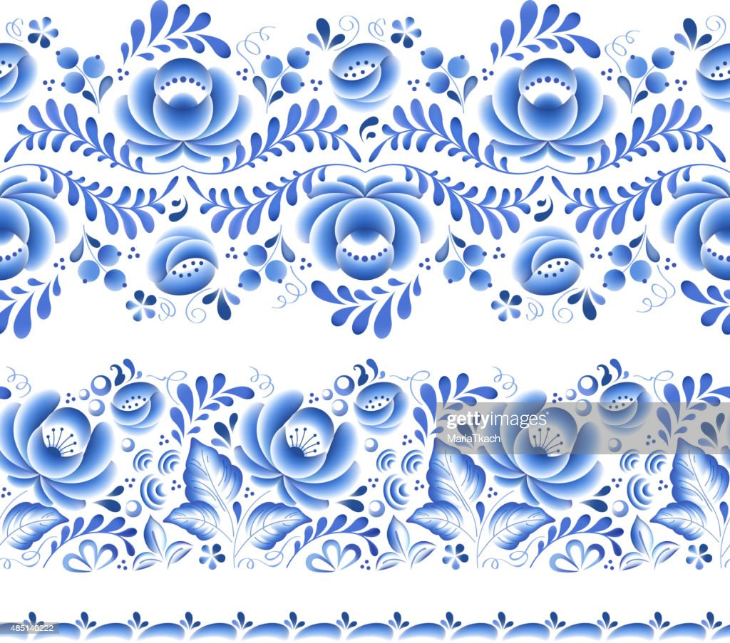 Blue flowers floral russian porcelain beautiful folk ornament
