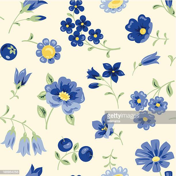 blue flowers - endive stock illustrations, clip art, cartoons, & icons