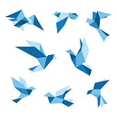 Blue flying pigeon and dove birds set, isolated on white. Pigeon polygonal style. Vector illustration.