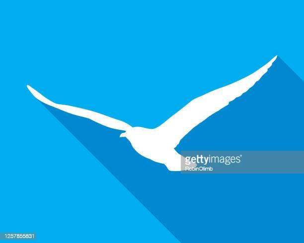 青空飛ぶカモメのアイコン - 海洋性の鳥点のイラスト素材/クリップアート素材/マンガ素材/アイコン素材