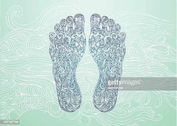 blue footprints on a lighter blue background - acupuncture stock illustrations, clip art, cartoons, & icons