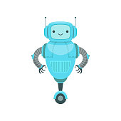 Blue Friendly Android Robot Character With Two Antennas