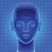 Blue futuristic artificial head