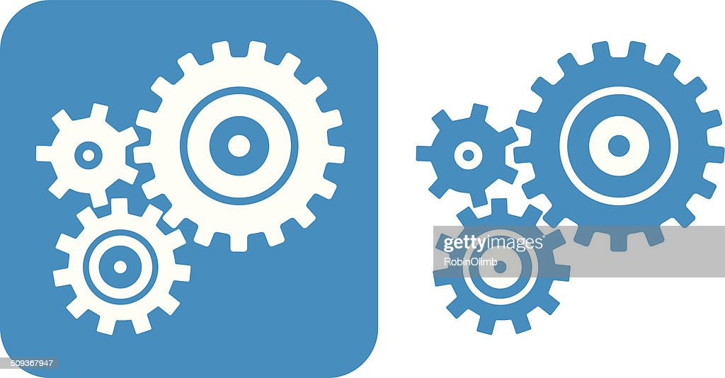 Blue Gears Icon High-Res Vector Graphic - Getty Images