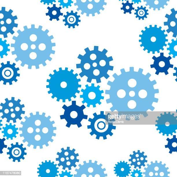 ブルーギアシームレスパターン - 組み合わさる点のイラスト素材/クリップアート素材/マンガ素材/アイコン素材