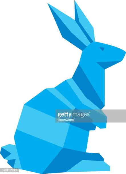 blue geometric rabbit - easter bunny stock illustrations, clip art, cartoons, & icons