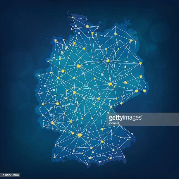 blue germany map in with connections on dark blueish background - germany stock illustrations, clip art, cartoons, & icons