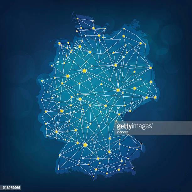 Bleu Allemagne carte avec des connexions bleuâtre sur fond foncé