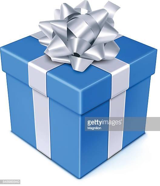 ilustraciones, imágenes clip art, dibujos animados e iconos de stock de azul caja de regalo - caja de regalo