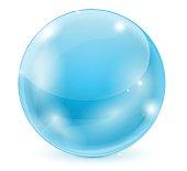 Blue glass ball. 3d shiny sphere