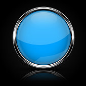 Blue glass button with chrome frame on black background