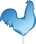 Blue glass rooster