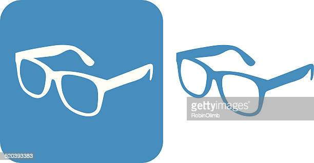 blue glasses icons - ophthalmology stock illustrations, clip art, cartoons, & icons