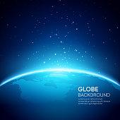 Blue globe earth background. Vector illustration