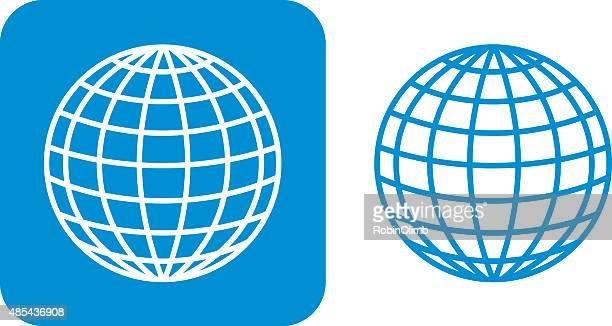 blue globe icons - latitude stock illustrations