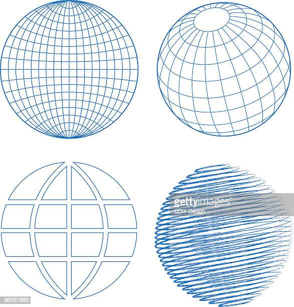 Blue globe set on white background