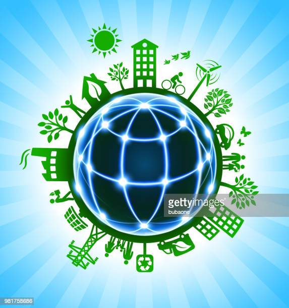 Blue Globe Wireframe on Green Environmental Conservation Background