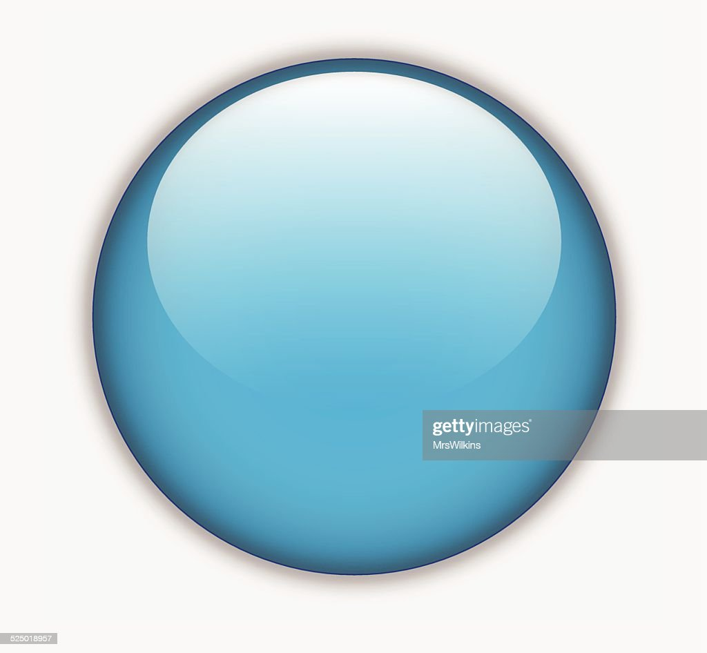 Blue glossy blank round button vector