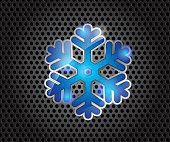 Blue Glossy Snow Flake on Dark Gray Background