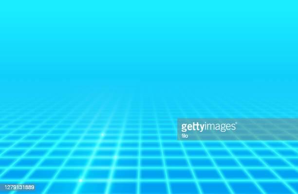 blue glow retro grid background - focus on background stock illustrations