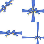 Blue gold bow templates. EPS 10