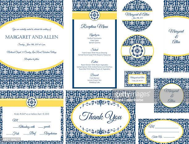 Blue & Gold Damask Wedding Invitation