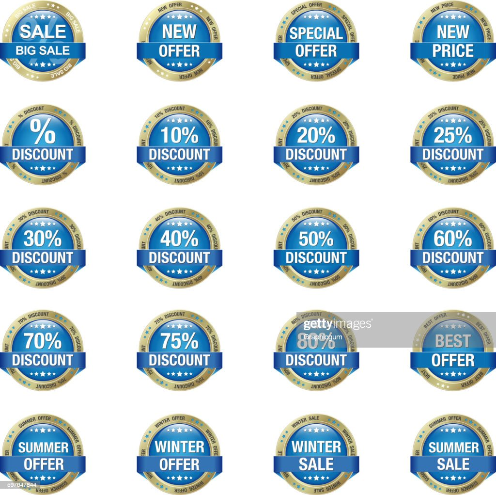 Blue Gold Sale Discount Buttons