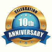 Blue gold ten year anniversary button