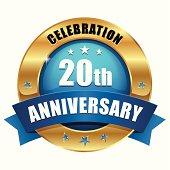 Blue gold twenty year anniversary button