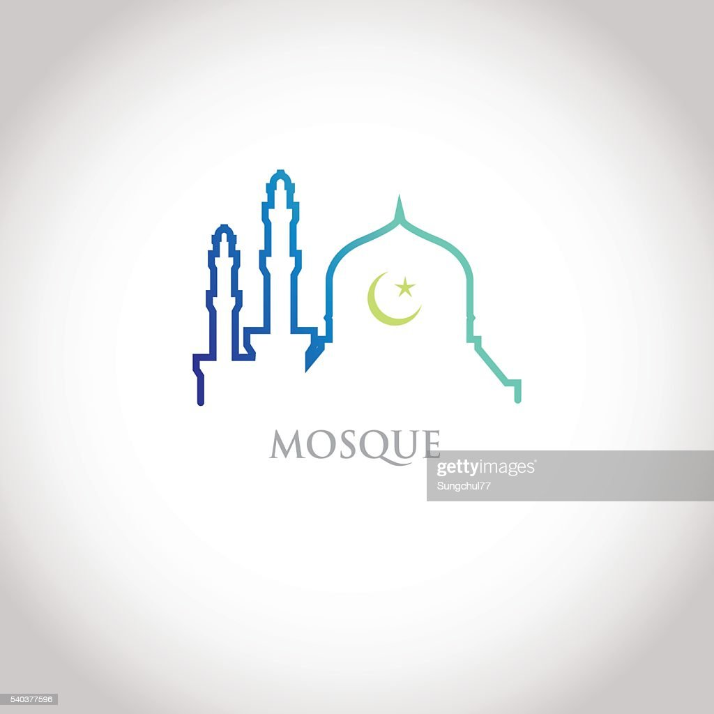 Blue gradation mosque and crescent moon