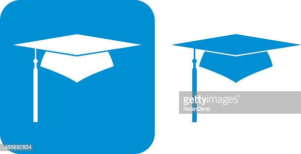 blue graduation cap icons - tassel stock illustrations