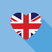 Blue Great Britain Heart Flag Icon