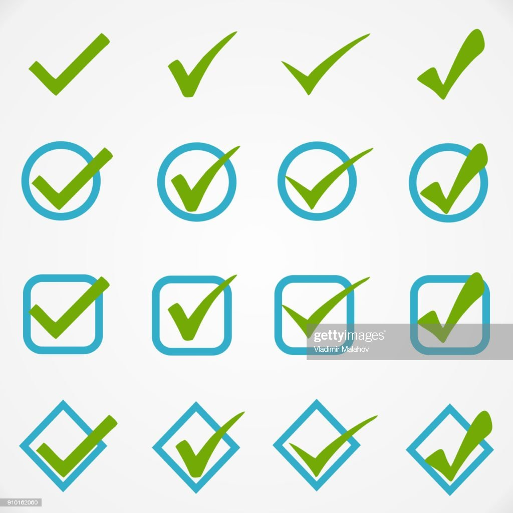 Blue green buttons on white background