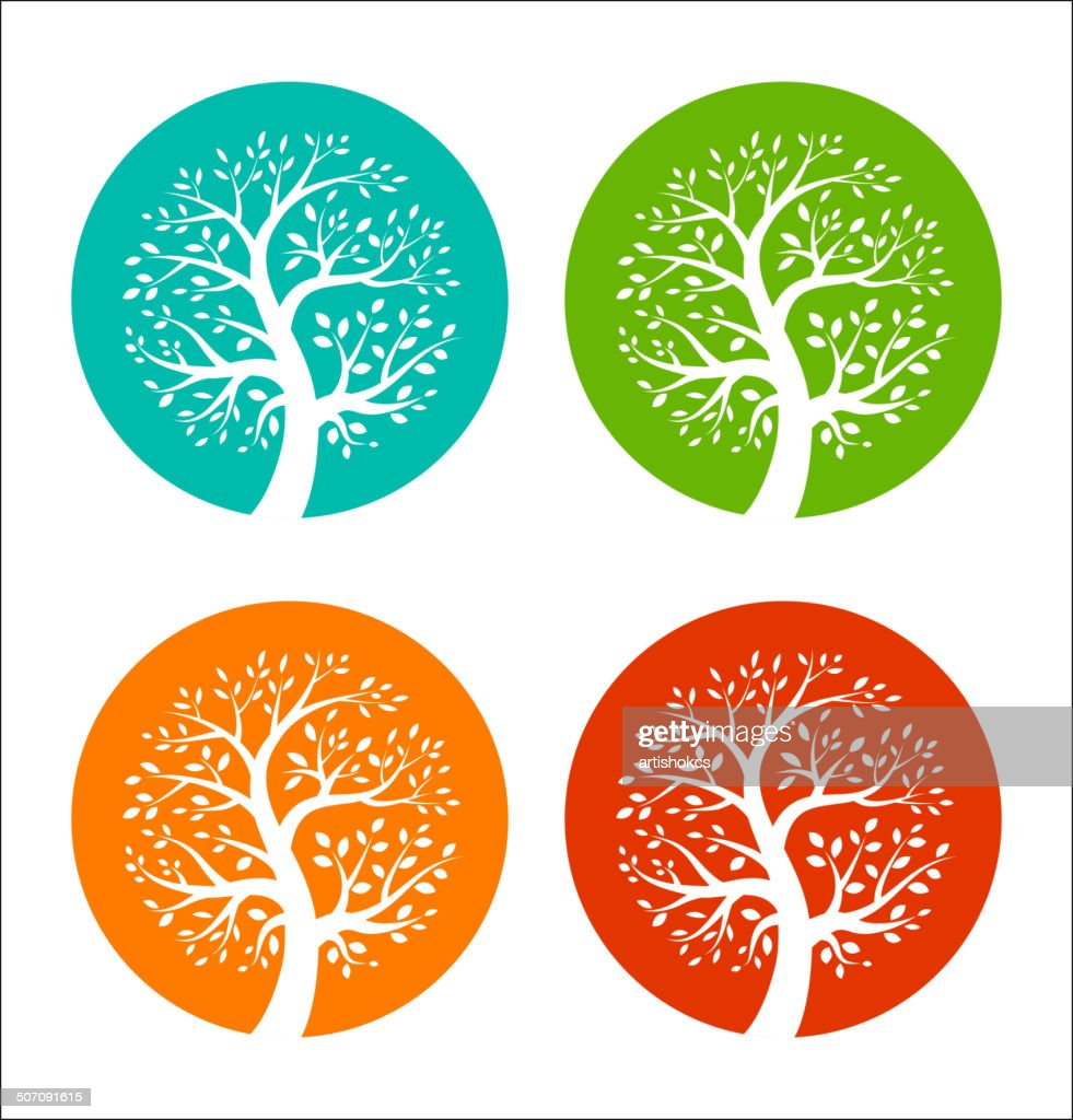 Blue, green, orange and red tree icons set