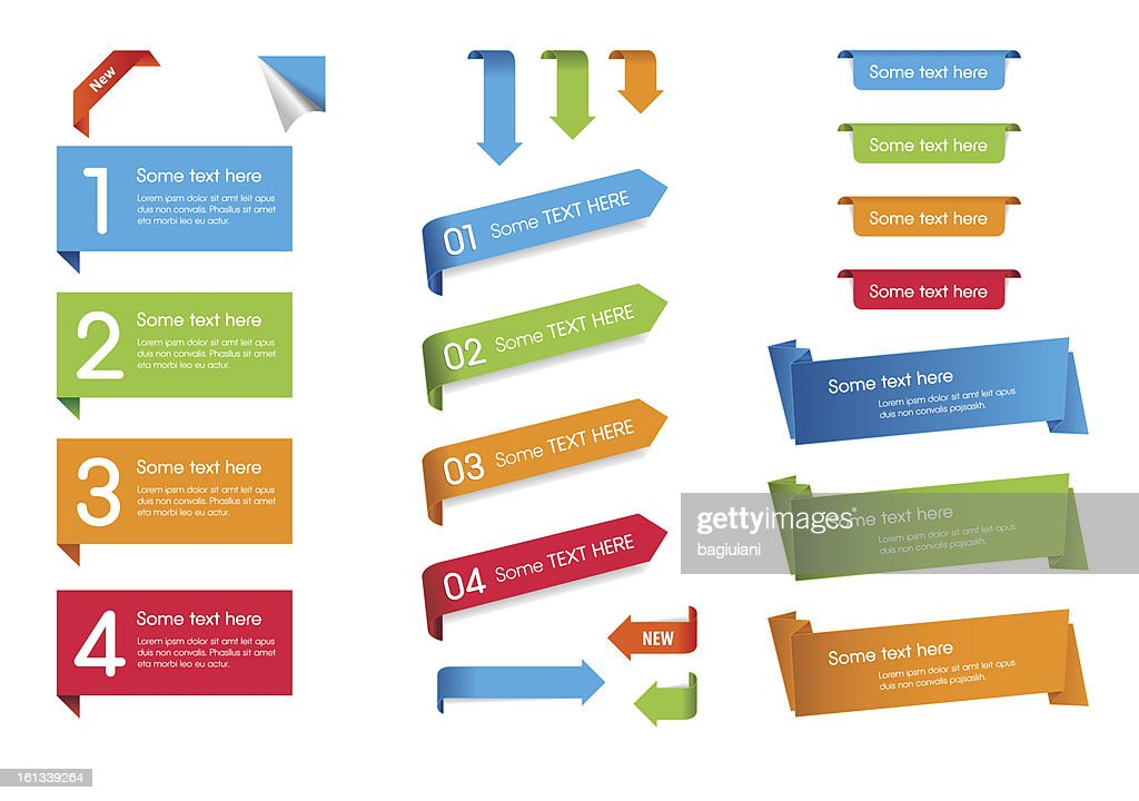 Blue, green, orange, and red web stickers, tags, and labels