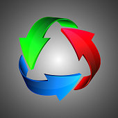 Blue Green Red recycle arrows, recycle simbol, vector