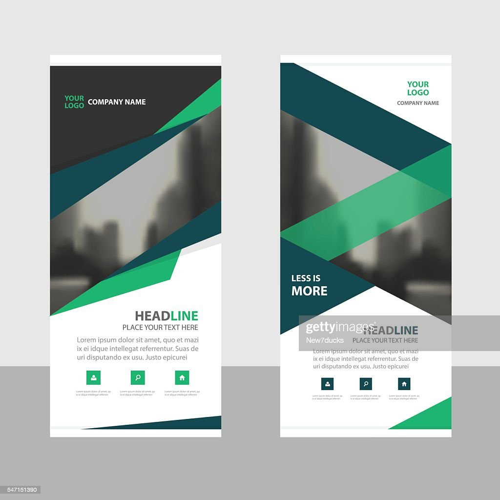 Blue green roll up business brochure flyer banner design cover